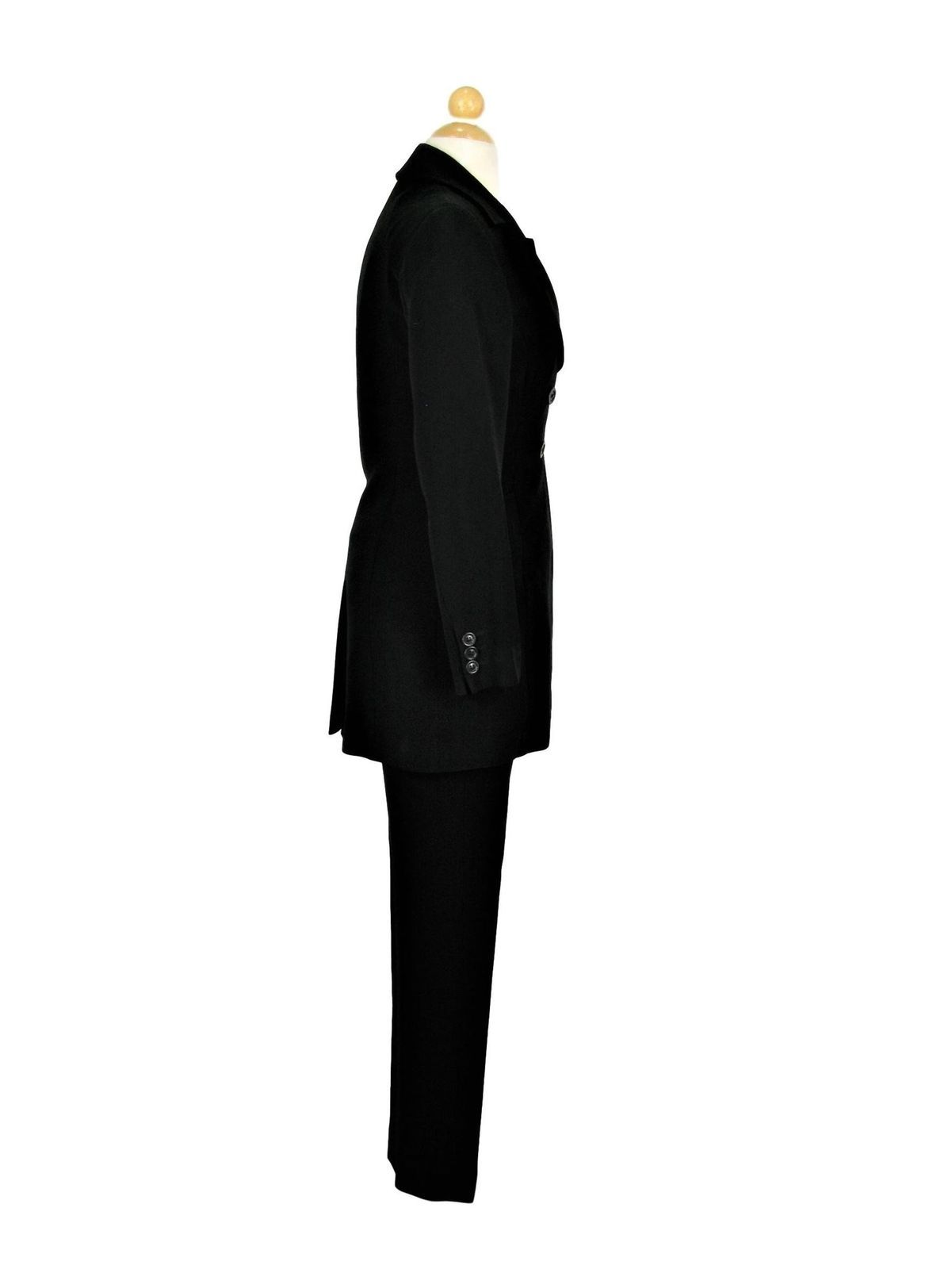 Pant Suit Long Fitted Blazer Capri Pants Karen Millen Black Crepe UK 8 $595 MSRP