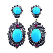 Ruby Turquoise Rose Cut Diamond Earrings 925 Sterling Silver Dangle Earr... - $669.52