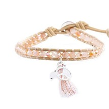 Great Gift for Girls Fashion Bracelet with Pendant Leather Cord Bracelet [Pink] image 2