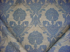 7Y STROHEIM BLUE / SAND FLORAL DAMASK STRIE DRAPERY UPHOLSTERY FABRIC - $166.32