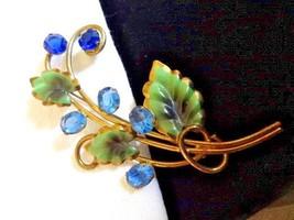 Classy Vintage Hand Painted Enamel & Rhinestone BROOCH Flower Bouquet Go... - $43.00