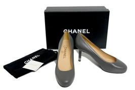 Chanel Dark Grey New 2015 Leather CC Low Pumps Size: EU 35 (Approx. US 5) - $684.04
