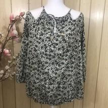 Michael Kors Safari Green Womens Cold Shoulder Top Blouse Shirt NWT $74 Large - $38.61