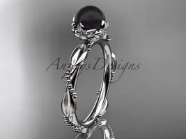 Unique Diamond Black Pearl Engagement Ring Platinum Wedding Ring ABP178 - $525.00