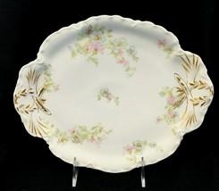 """Old Haviland Limoges Co France Platter 10 3/4"""" Pink & Blue Floral Gold H... - $34.65"""