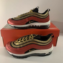 New! Nike Air Max 97 Women's Red Gold Black Sequin Sneakers Size 7.5 CT1... - $101.92