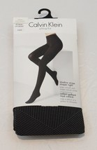 Calvin Klein Ultra Fit Shadow Stripe Shaper Tights Black/Shale Grey size... - $7.80
