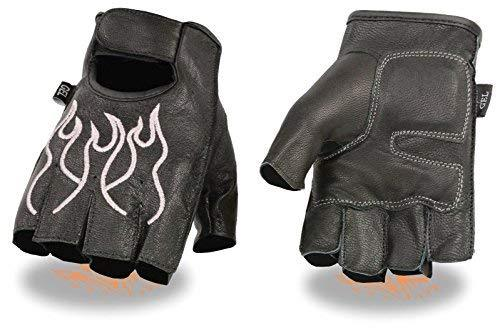 Primary image for MEN'S MOTORCYCLE BIKE LEATHER FINGERLESS GLOVES BLACK PINK FLAMES DURABLE NEW (L