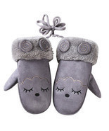 Kids Cute Cartoon Little Goat Suede Mittens Winter Warm Thicken Hanging ... - ₨308.77 INR