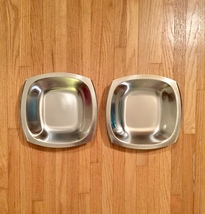 Set of 2 60s MCM Stelton of Denmark stainless steel square low profile bowls image 2