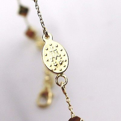 Bracelet Yellow Gold 18K 750, Rosary Beads, Cube 4 mm, cross, Miraculous Medal