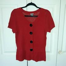 Women's Ann Taylor Silk Blend Sweater Size L Short Sleeved Red - $19.79