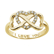 Sterling Silver 14k Yellow Gold Infinity Cubic Zirconia Heart I LOVE YO... - £13.29 GBP
