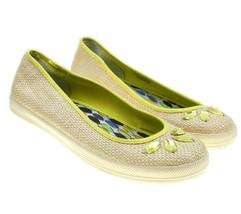 NANETTE LAPORE for KEDS Beige Straw Linen Flats Shoes Jeweled Yellow Acc... - €16,47 EUR