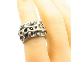 925 Sterling Silver - Vintage Antique Sculpted Pattern Band Ring Sz 7 - ... - $51.56