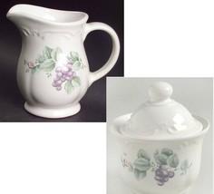 EUC Grapevine by Pfaltzgraff  Set Creamer 12 oz. and Sugar Bowl & LId 3in - $26.22
