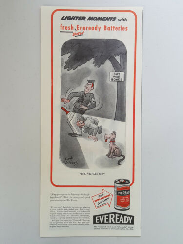 Primary image for 1945 Eveready Extra Long Life Batteries Dated Dog Cartoon Vtg Magazine Print Ad