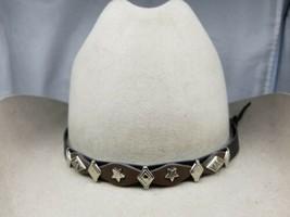 Black+Brown Hatband W Silver Diamond, Dogwood And Star Conchos Cowboy Hat Band - $16.39