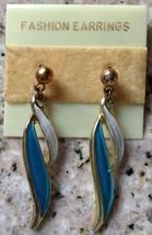 New Old Stock Turquoise White Enameled  Dangle Style Earrings - $8.54