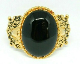 Pcraft Black Acrylic Cabochon Repousse Clasp Bangle Bracelet Gold Tone - $19.79