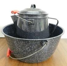 Lot Vintage Black White Speckled Enamelware Kettle Wood Handle + Large B... - $56.09
