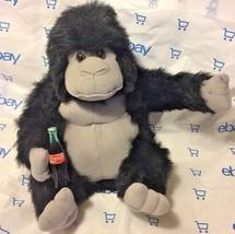 Plush Coca -Cola bottle In Hand Black & Gray shiny Gorilla Vintage 1993 Unused - $8.16