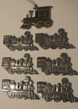Lot of 7 Silver Train Engine Christmas Tree Ornaments - $18.69