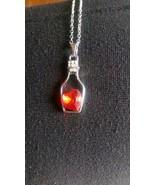Silver Color Pendant - Red Heart Bottle Pendant - New - Never Worn - $3.99