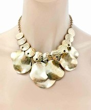Gold Tone Short Charmed Statement Everyday Necklace Earrings Set, Gipsy, Casual - $16.90