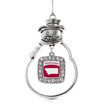 Inspired Silver Montana Outline Classic Snowman Holiday Christmas Tree Ornament  - $14.69