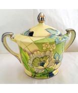 Vintage Signed Noritake Sugar Bowl W/Lid Hand Painted Yellow w/Flowers - $19.99