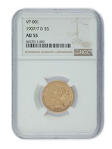 1907/7-D US Gold Liberty Half Eagle Graded by NGC as AU55! VP-001 - $1,769.54