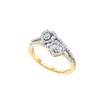 10kt Yellow Gold Womens Round Diamond Double Heart Cluster Fashion Ring ... - $237.30