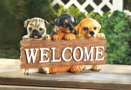 Cute Puppies Dog Welcome Plaque Sign - $22.26