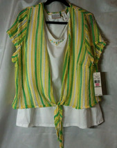 Alfred Dunner 1X Womens 100% Polyester 2 Piece Hip Length Top Short Slee... - $15.99