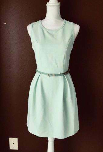 Forever 21 Lime Green Sleeveless A-line Pleated Belted Waist Dress Size S