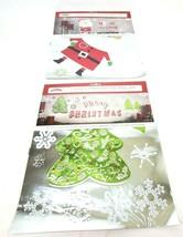 Christmas Embossed Wall Art Foil Decorations 2 Packs Tree & Santa Office... - $12.00