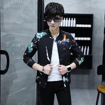 2018 Spring and Autumn New Fashion Men's Slim Fit Black Jacket Men's Printing Br image 3