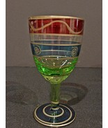 Set 4 Cordial Glasses Mouth Blown Hand Crafted In Romania Green Blue Red - $5.00