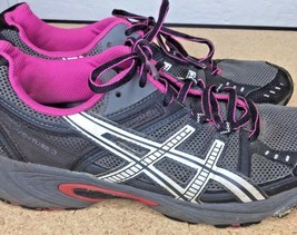 Asics Women Sneakers Size 9.5 T283N  Running Shoe Gray Black Purple Lace Up - $31.80
