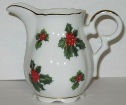 Lefton China Creamer Small Hand Painted Holly Berry Leaves Gold Trim No. 7949 - $17.82