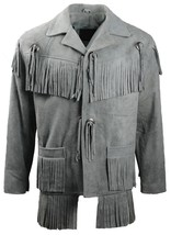 Men's New Grey Western Native American Suede Cow Leather Fringe Jacket F... - $117.00+