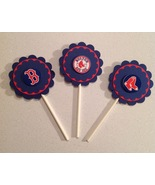 Mlb Boston Red Sox Cupcake Toppers Deco Birthday Party Red Blue Handmade... - $12.00