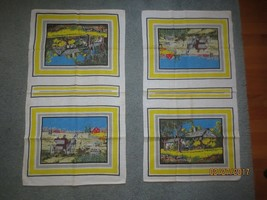 "2 Matching RURAL COUNTRY SCENES Linen Kitchen Towels - UNUSED - 16"" x 30"" - $11.88"