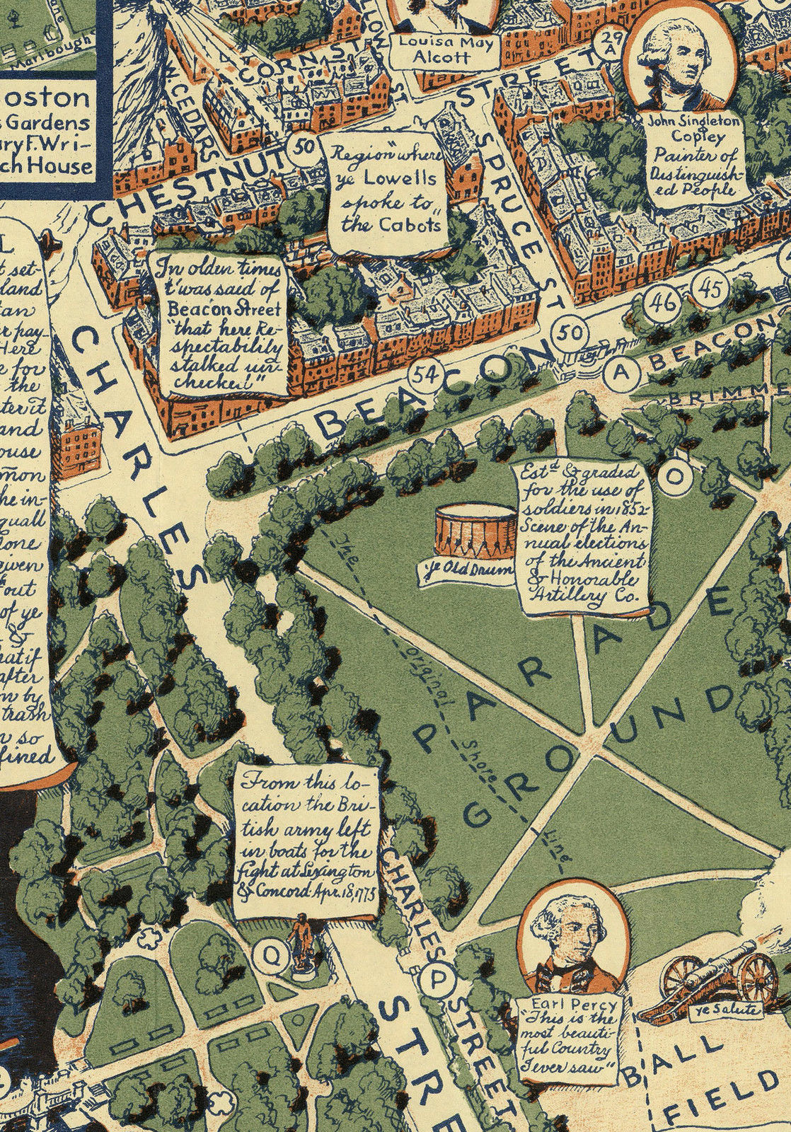 Historical Pictorial Map Boston Common And Similar Items - Boston common map