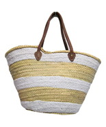 French Market Basket Sparkling Sequin & Leather Straw Bag Stripped White - $57.41