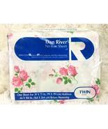 NOS Vintage Twin Flat Bed Sheet DAN RIVER No-Iron Fortrel Pink Rose Flor... - $34.65