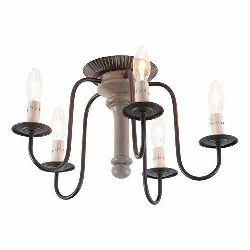 Primary image for Farmhouse 5 Arm Candlestick Smooth  Earl Gray Berkshire Wood Mount Ceiling Light