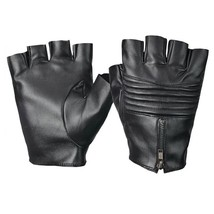 Fitness Driving Leather Black Fingerless Gym Gloves Multifunctional Gloves - $11.87