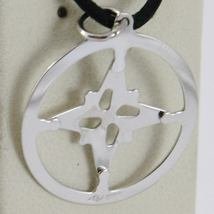 18K WHITE GOLD 19 MM WIND ROSE COMPASS CHARM PENDANT, STAR, MADE IN ITALY image 3